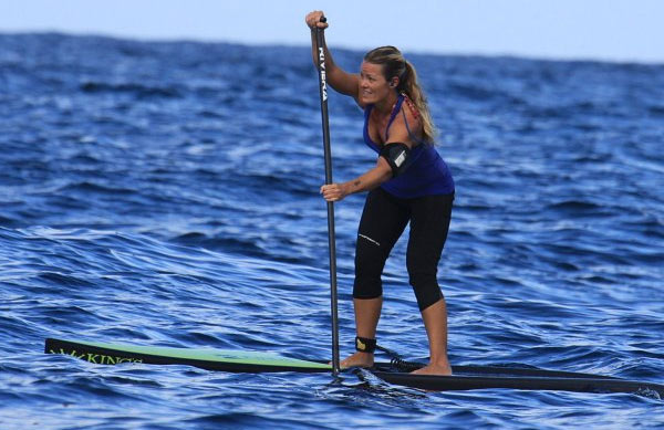 Pamela Strom racing stand up paddle board