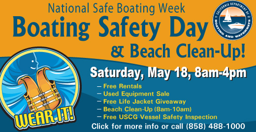 BOating Safety Day at MBAC Saturday, May 18, 8am-4pm.  Free Rentals, USed Equipment Sale, Free life jackets (while supplies last), beach clean-up (8am-10am)