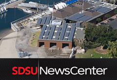 MBAC solar array and SDSU NewsCenter logo